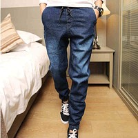Mens Denim Jeans Men Drawstring Slim Fit Denim Joggers Mens Joggers Jeans Stretch Elastic Jean Pencil Pants Casual