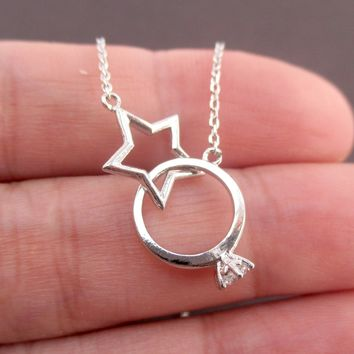 Linked Diamond Ring and Star Infinity Ring Interlocking Pendant Necklace