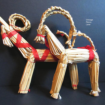 Vintage Swedish Straw Ornaments / Goats, Scandinavian Christmas Decor, Traditional Handmade Straw Figures
