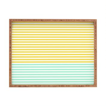 Allyson Johnson Mint And Chartreuse Stripes Rectangular Tray