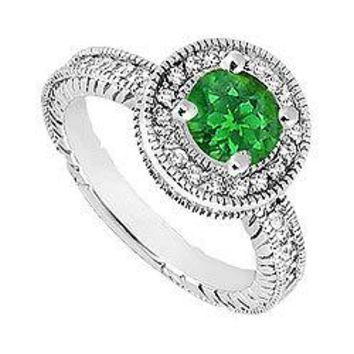 Emerald and Diamond Halo Engagement Ring : 14K White Gold - 1.25 CT TGW