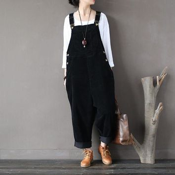 DKF4S Women Autumn Winter Cotton Corduroy Vintage Rompers Jumpsuits Retro Solid Color Loose Overalls Ladies Washed Pants Trousers