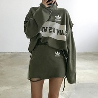 """Adidas"" Women Fashion Ripped Multicolor Letter Embroidery Long Sleeve Zip Sweater Short Skirt Set Two-Piece Sportswear"