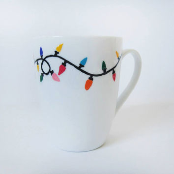 "Christmas Mug - Hand painted White Ceramic Mug, ""Christmas lights"""