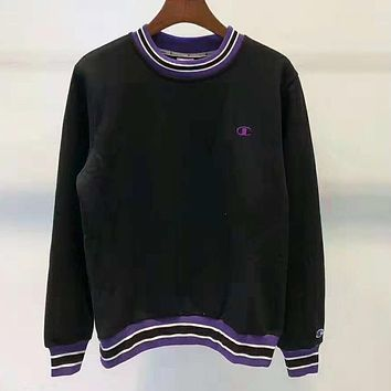 Champion Autumn And Winter New Fashion Bust Embroidery Logo Women Men Hooded Long Sleeve Top Sweater Black