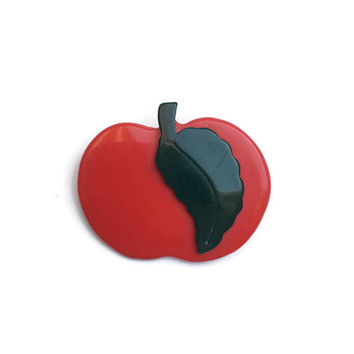 Red Apple Brooch | Vintage Brooch | Vintage Pin | Plastic Fruit Brooch