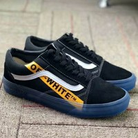 VANS OLD SKOOL & OFF WHITE Joint Casual Trend Fashion Skate Shoes F-CSXY black