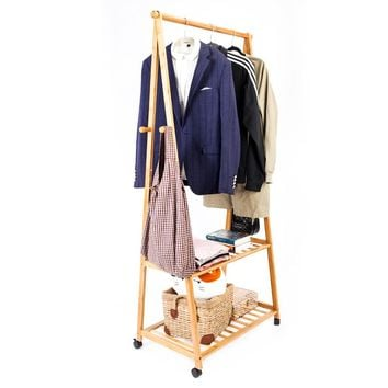 2-layer Portable Wooden Clothing Rack/Hanger with Wheels