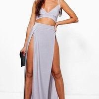 Paige Slinky Bralet And Split Maxi Skirt Co-Ord
