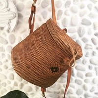 Rattan Backpack Wicker Basket Bag