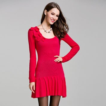 Knit Pullover Long Sleeve Tops One Piece Dress [9010376902]