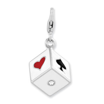 Sterling Silver Enameled 3-D Dice w/Lobster Clasp Charm QCC901