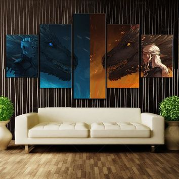 5 Piece HD Wall Art Cartoon Picture Printed Game of Thrones Movie Dragon Monther Posters Wall Picture for Living Room Decor