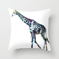 Giraffe 2 Throw Pillow by NKlein Design