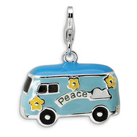 925 Sterling Silver 3D Enameled Miniature Hippie Bus Dangle Charm