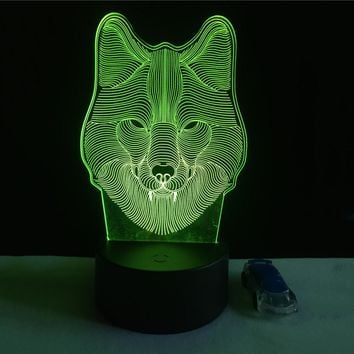 7 Color Wolf Lamp 3D Visual Led Night Lights for Kids