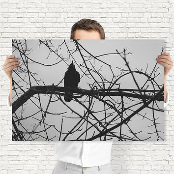 Black Crow On A Tree Branch - Dark Wall Art - Monochrome Art, Digital Download | Gothic Wall Decor by Mila Tovar