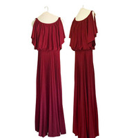 Vintage Semi Formal Dress Blouson Dress Burgundy Maxi Dress Maroon Maxi Dress 70s Maxi Dress Boho Dress Bohemian Maxi Dress 1970s Dress Prom