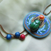 Scarab, Polymer clay scarab, Pendant, Handmade necklase scarab.Unique gift for girl, woman