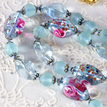 Vintage Beaded Necklace, Frosted Sky Blue, Venetian Lampwork Art Glass, Pink Roses, Speckles, 1940s, Romantic Wedding Bridal Jewelry