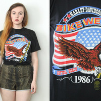 Vintage 80s Americana // Harley Davidson Bike Week Eagle T Shirt // Black Graphic Tee // Size XS Extra Small / Small