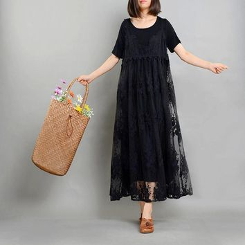 ASYMSAY Women Summer Dress Pure Cotton Round Neck Dress With Rayon Linen Embroidery Cami Dress Two Pieces Clothing AC3305