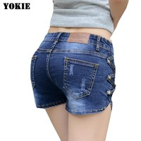 Low waist skinny denim shorts jeans women casual solid hole women trousers female  Plus size 26-32 free shipping