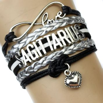 Infinity Love Sagittarius Heart Bracelet Twelve Constellations The Signs of the Zodiac Bracelet Black Silver