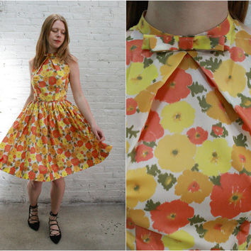 50s floral print cocktail dress / 1950s party dress orange yellow flowers
