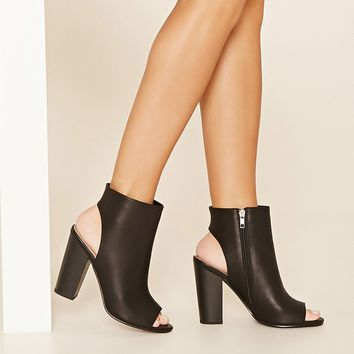 Open-Toe Faux Leather Booties