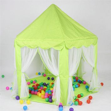 Cute Hexagon Playhouse Girls Princess Castle Children Kids Large Indoor Play Tent