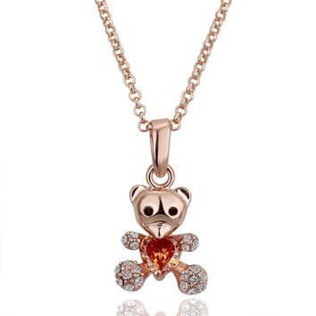Rose Gold Plated Petite Teddy Bear with Orange Citrine Necklace