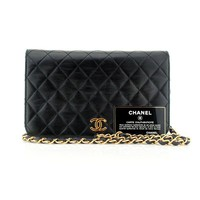 CHANEL Lambskin Quilted CC Gold Buckle Wallet on Chain WOC Shoulder Bag Vintage