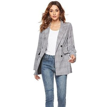 Womens Double Breasted Grey Checkered Blazer