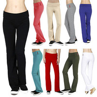 New Regular Leg Stretch Cotton Fold Over Workout Yoga Pants Size S M L AB8150