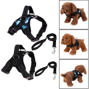 Pet Dog Harness Collar Adjustable Canvas Chest Strap Vest and Traction Rope Lead Leash Breathable Dog Supplies