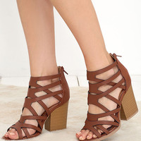 Hear the News Cognac Caged Heels