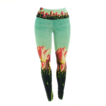 "Robin Dickinson ""How Does Your Garden Grow"" Pink Flowers Yoga Leggings"