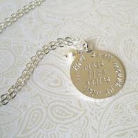 Isaiah 40:31 Silver Necklace-They Shall Mount Up With Wings of Eagles-Hand Stamped Necklace-Encouragement, Hope