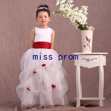 Jewel neckline organza pleated with red sash and flower flower girl dress