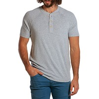 Puremeso Heathered Short Sleeve Henley in Light Grey by The Normal Brand - FINAL SALE
