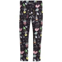 Girls Black 'Monster Space' Leggings