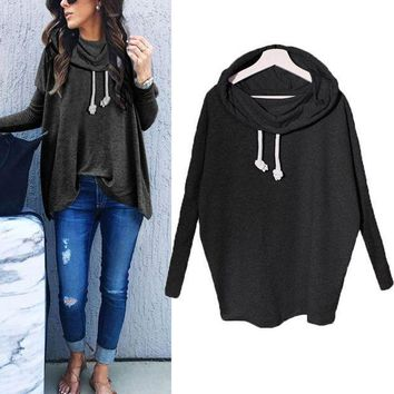 PEAP78W Women Ladies Fashion Autumn Long Sleeve Hooded Baggy Pullover Sweatshirt Blouse Ladies Casual Plain Top Sweats Hoodie Shirt