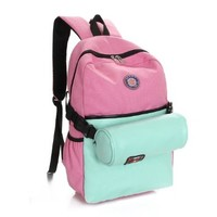 Vere Gloria Girls Fashion Back to School Backpacks, Lovely Color Block Canvas Travel Bags for Teenage Girls, Women Teens Hiking Daypacks, Fit for 15 Inches Laptop, with Detachable Waist Bag As Gift (pink-blue)