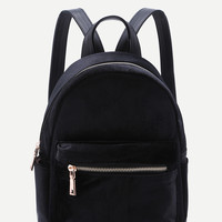 Velvet Front Zipper Backpack BLACK | MakeMeChic.COM