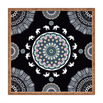 Monika Strigel BOHO ELEPHANT DANCE IN BLACK Square Tray