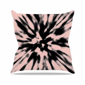 "Nika Martinez ""Tie Dye Rose"" Pink Abstract Outdoor Throw Pillow"