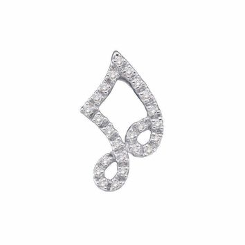 14kt White Gold Women's Round Diamond Small Half-note Music Pendant 1-10 Cttw - FREE Shipping (US/CAN)
