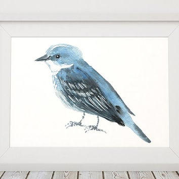 Cerulean warbler print Cute nursery art Bird watercolor ACW139