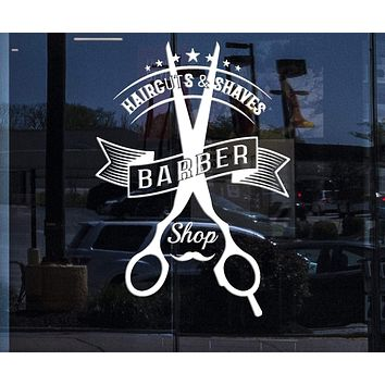 Window Vinyl Decal Wall Sticker Barber Tools Haircuts Shaves Beauty Salon Decor Unique Gift (n883w)